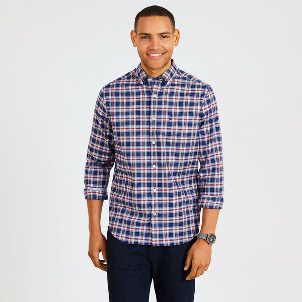 Big & Tall Tencel Plaid Classic Fit Shirt - J Navy
