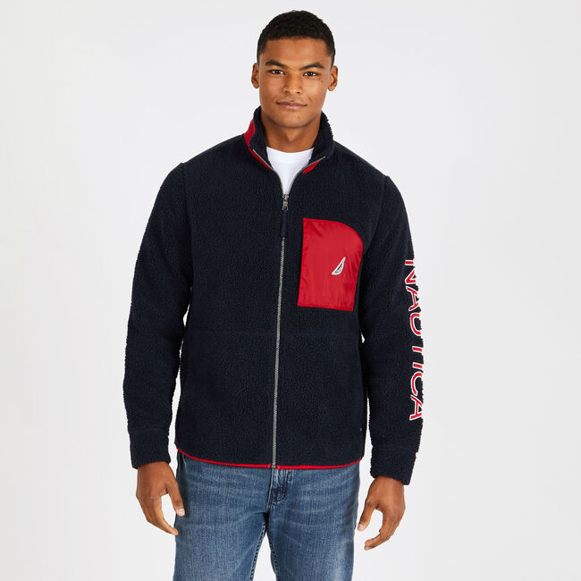 Sherpa Full-Zip Jacket with Logo Detail,Pure Dark Pacific Wash,large