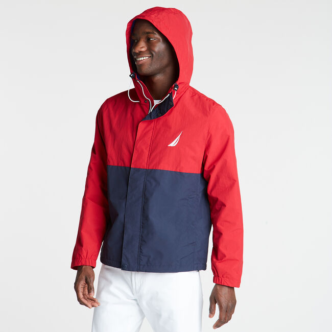 Colorblock Hooded Jacket,Nautica Red,large