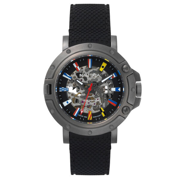 Porthole 3-Hand Automatic Watch - Black - Black