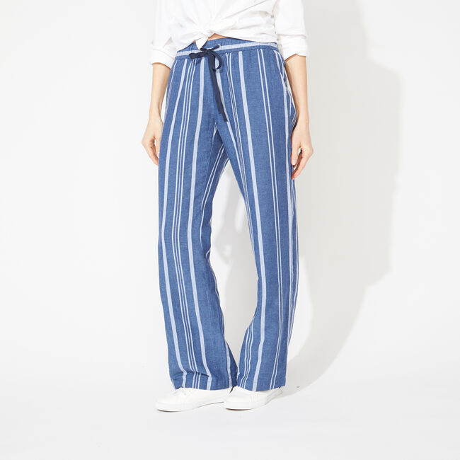 WIDE LEG STRIPE DRAWSTRING PANTS,J Navy,large