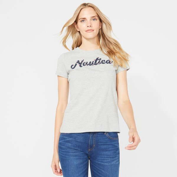 NAUTICA SCRIPT TEE - Grey Heather