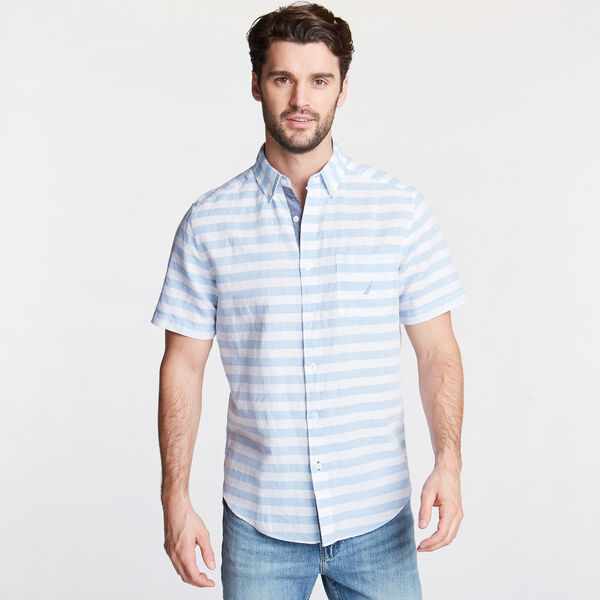 Classic Fit Short Sleeve Shirt in Stripe - Silver Lake Blue