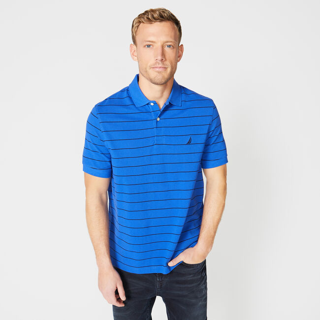 Classic Fit Mesh Polo in Breton Stripe,Angel Blue,large