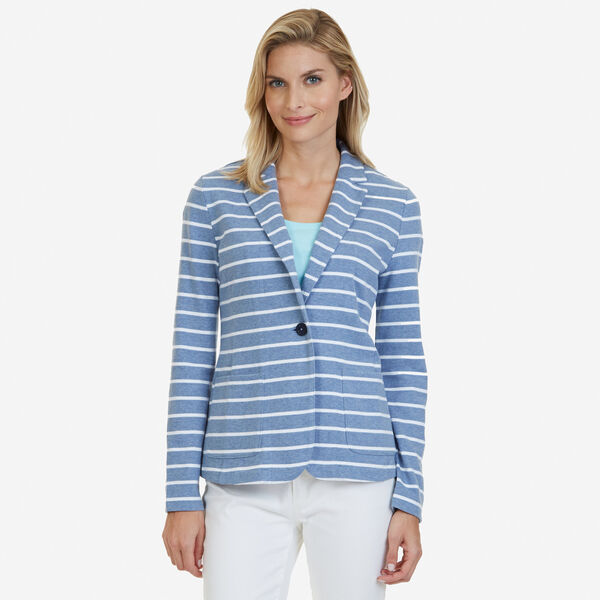 Striped Knit Blazer - Cornflower Blue