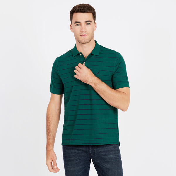 Classic Fit Mesh Polo in Breton Stripe - Cosmic Fern