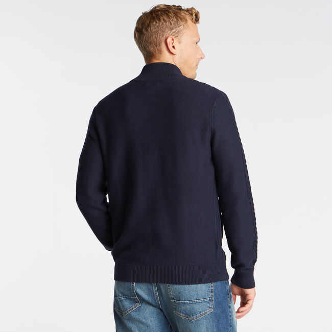 FULL ZIP CABLE KNIT SWEATER,Navy,large