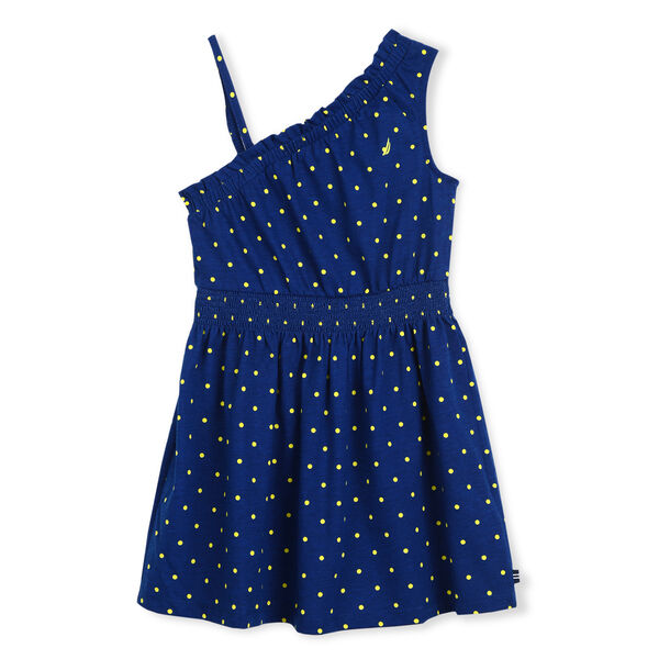 GIRLS' RUFFLE JERSEY DRESS IN POLKA DOT - Aqua Isle