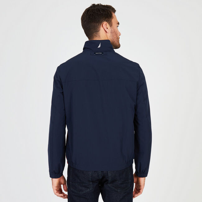 Water Resistant Colorblock Logo Jacket,Pure Dark Pacific Wash,large