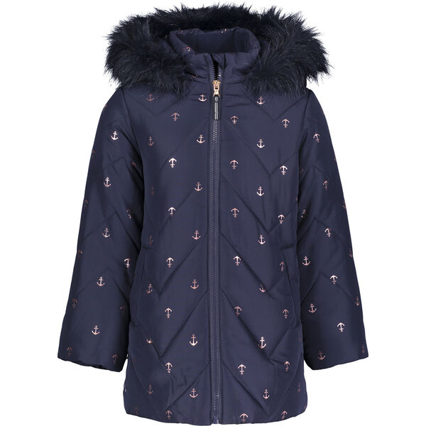 TODDLER GIRLS' QUILTED CHEVRON PUFFER JACKET (2T-4T) - Navy