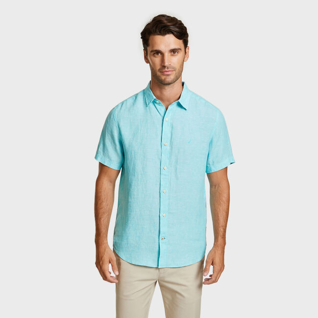Solid Linen Short Sleeve Classic Fit Shirt,Bali Bliss,large