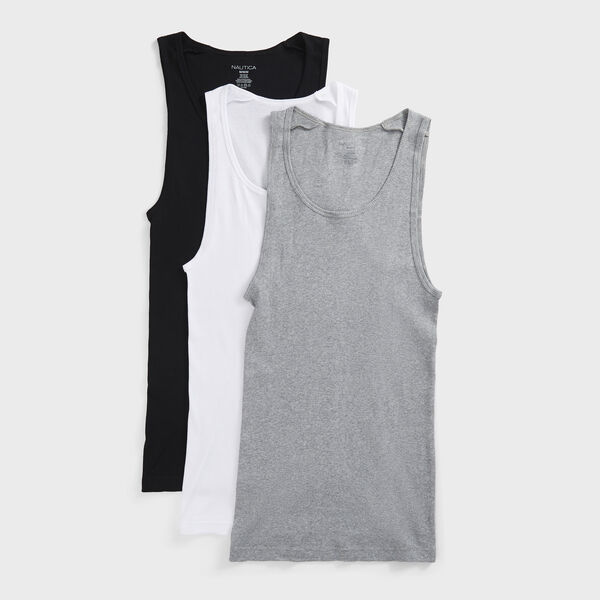 Ribbed Tanks, 3-Pack - Grey Heather