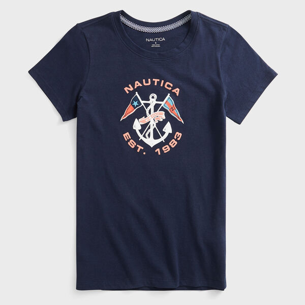 CROSSED ANCHOR AND FLAG T-SHIRT - Stellar Blue Heather