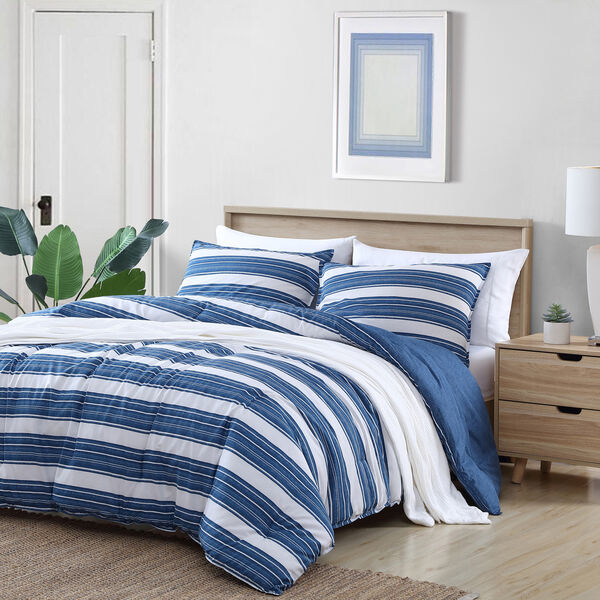 REVERSIBLE TEXTURED STRIPE DENIM FULL/QUEEN COMFORTER-SHAM SET - Multi