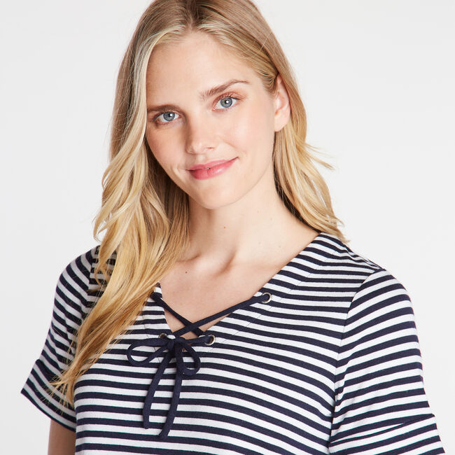 CLASSIC FIT LACED TOP,Stellar Blue Heather,large