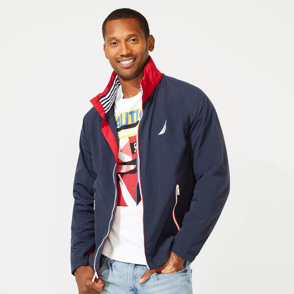 83 BOMBER JACKET WITH CONCEALED HOOD - Pure Dark Pacific Wash