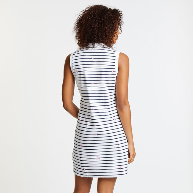 Split-Neck Flamingo + Stripe Polo Dress,Bright White,large