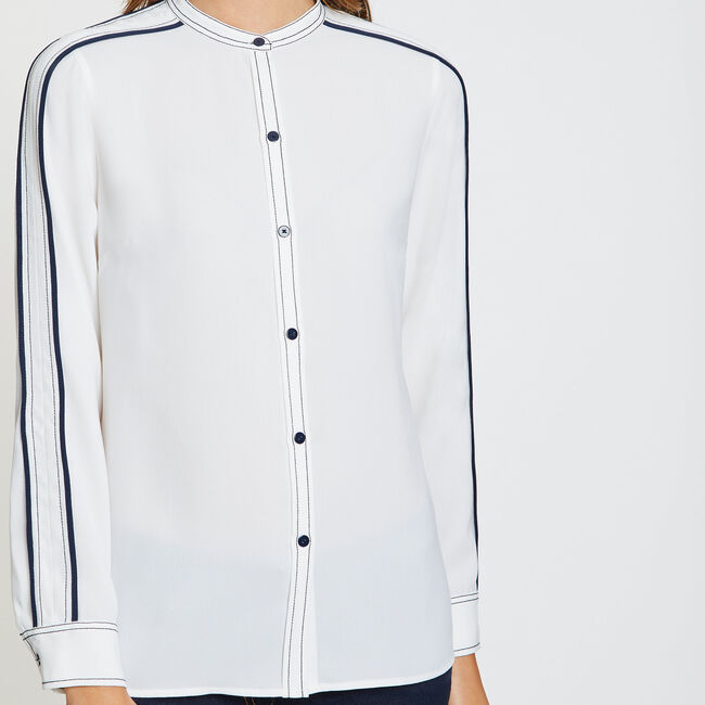 Double Stripe Long Sleeve Button-Down Shirt,Marshmallow,large