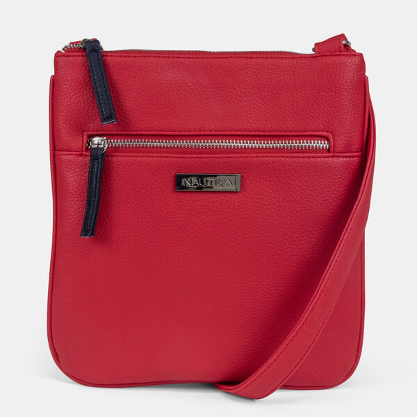 BOARDWALK EMBOSSED FAUX-LEATHER CROSSBODY BAG - Nautica Red