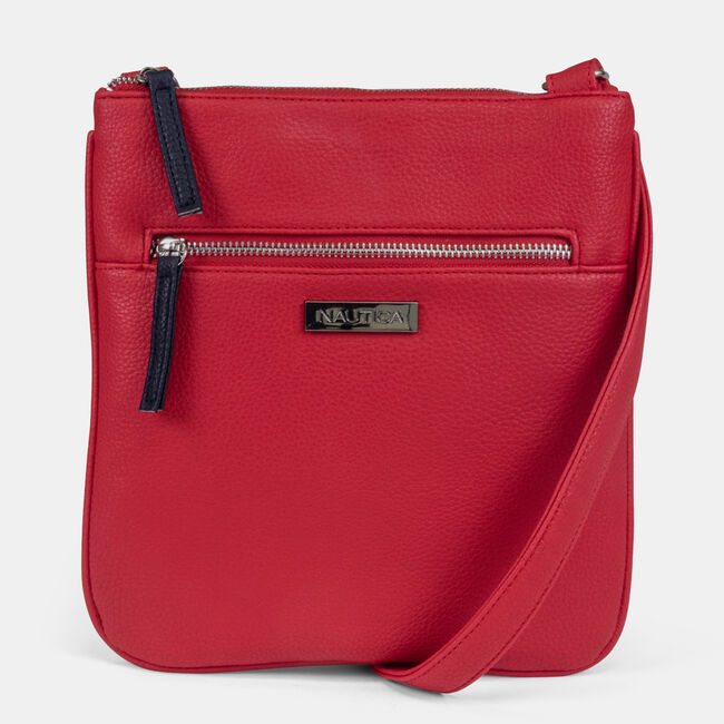 BOARDWALK EMBOSSED FAUX-LEATHER CROSSBODY BAG,Nautica Red,large