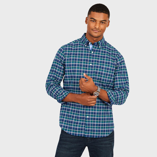 Multi-Plaid Long Sleeve Classic Fit Shirt,Cosmic Fern,large