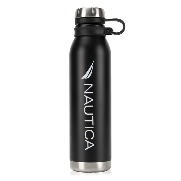 LOGO DOUBLE-WALLED STAINLESS STEEL BOTTLE WITH FINGER GRIP - True Black