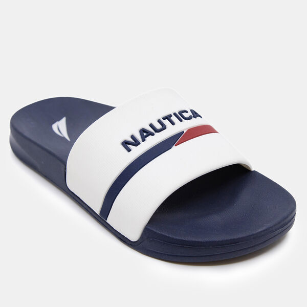 BOY'S LOGO STRIPE SLIDE SANDAL - Antique White Wash