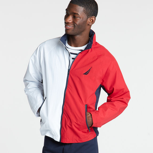 Colorblock Lightweight Jacket,Bright White,large