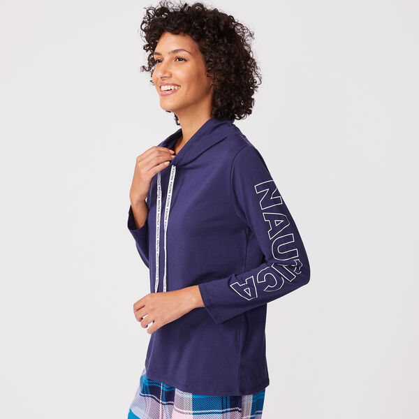 COWL NECK LOUNGE TOP  - Ice Blue