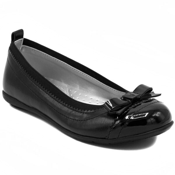 Girls' Lunette Cap Toe Flats - Black