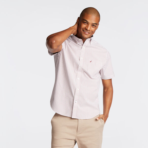 Wrinkle-Resistant Short Sleeve Classic Fit Shirt in Stripe - Barolo
