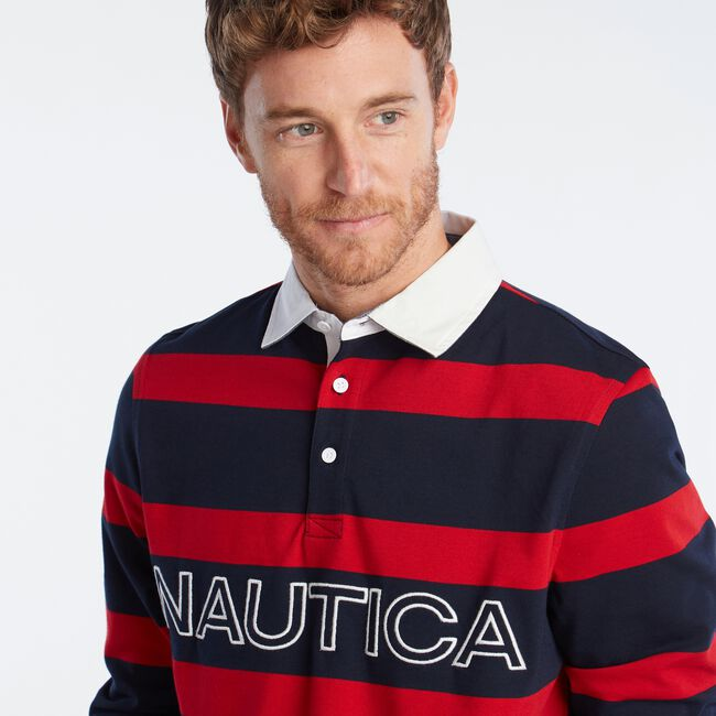 LOGO STRIPED LONG SLEEVE RUGBY,Navy,large