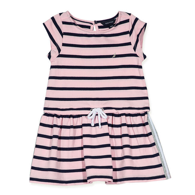 Little Girls' Rope Bow Striped Dress (4-6X),Bow Burgundy,large
