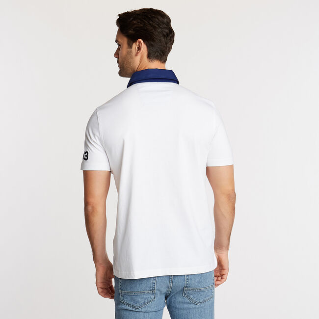 SHORT SLEEVE PIECED CHEST STRIPE POLO IN CLASSIC FIT,Bright White,large