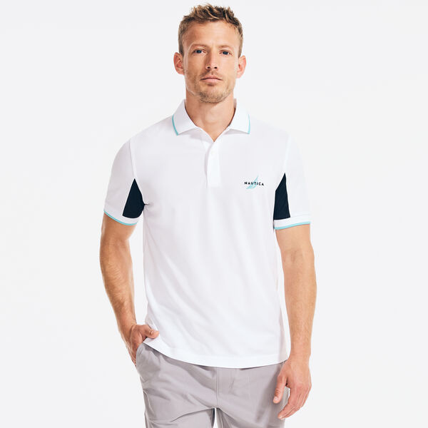 NAVTECH CLASSIC FIT COLORBLOCK SLEEVE POLO - Bright White