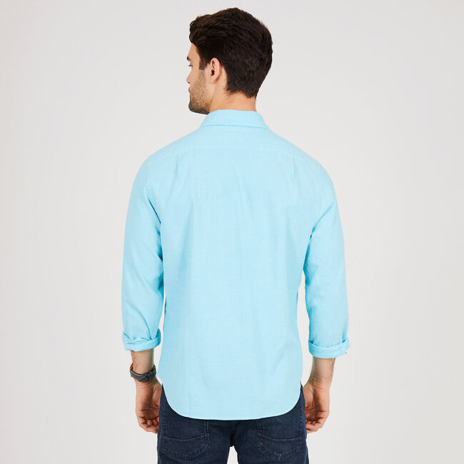 Solid Long Sleeve Classic Fit Button Down,Sapphire,large