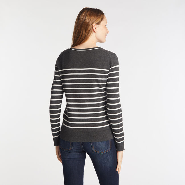 STRIPE V-NECK SWEATER,Castlerock Grey,large