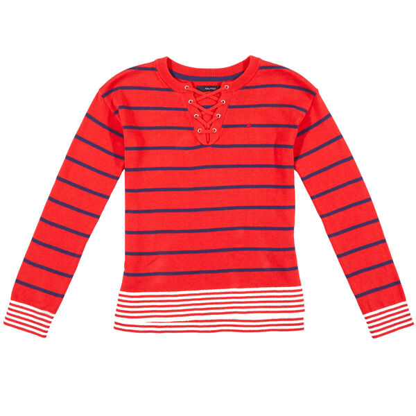Little Girls' Lace Up Stripe Sweater (4-7) - Prism Pink