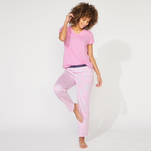 NAUTICA SIGNATURE STRIPED SHORT SLEEVE PAJAMA SET - Deep Fuschia