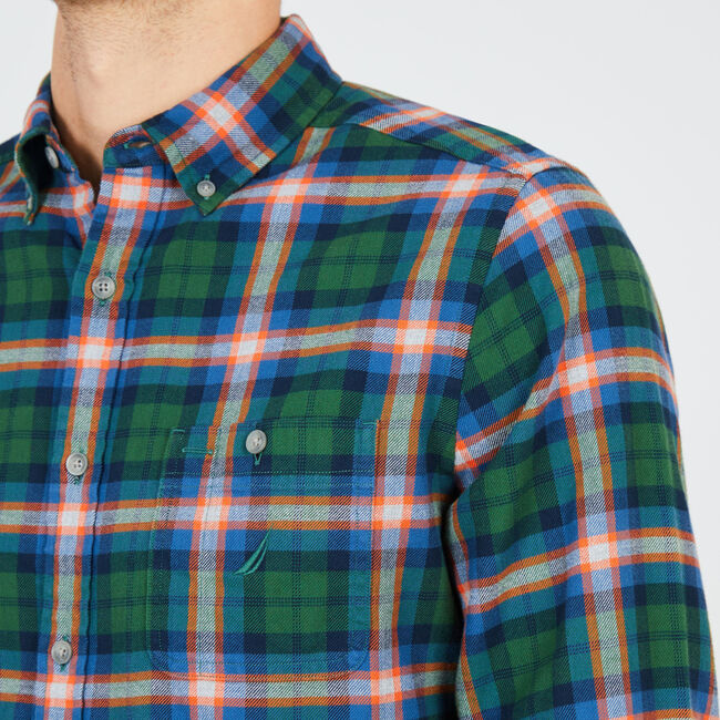 Long Sleeve Classic Fit Flannel Plaid Shirt,Pacific Pine,large