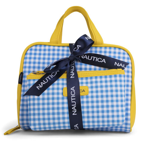 Gingham Toiletry Weekender 2-Piece Set - French Blue