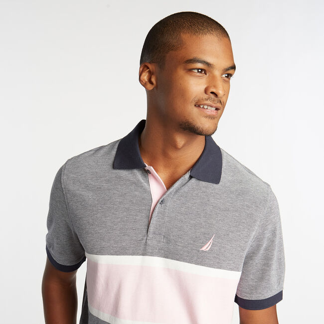 CLASSIC FIT OXFORD MESH POLO WITH CHEST STRIPE,Navy,large