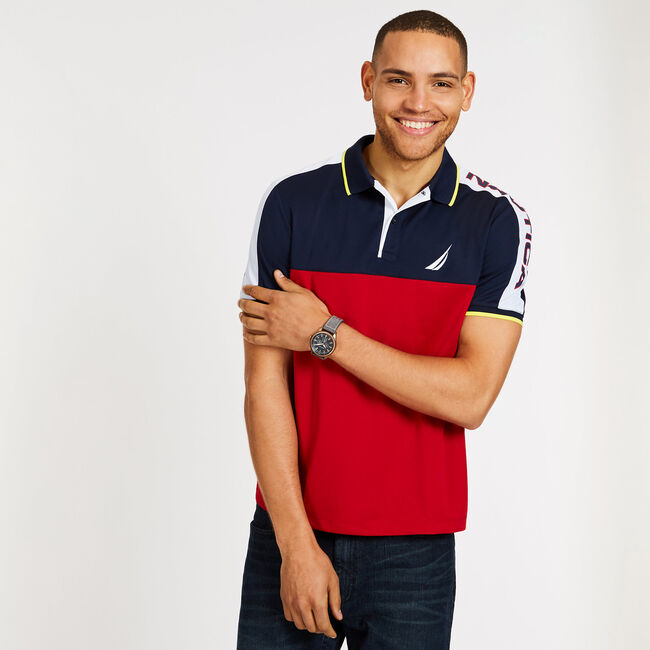 Classic Fit Pieced Mesh Shoulder Polo,Nautica Red,large