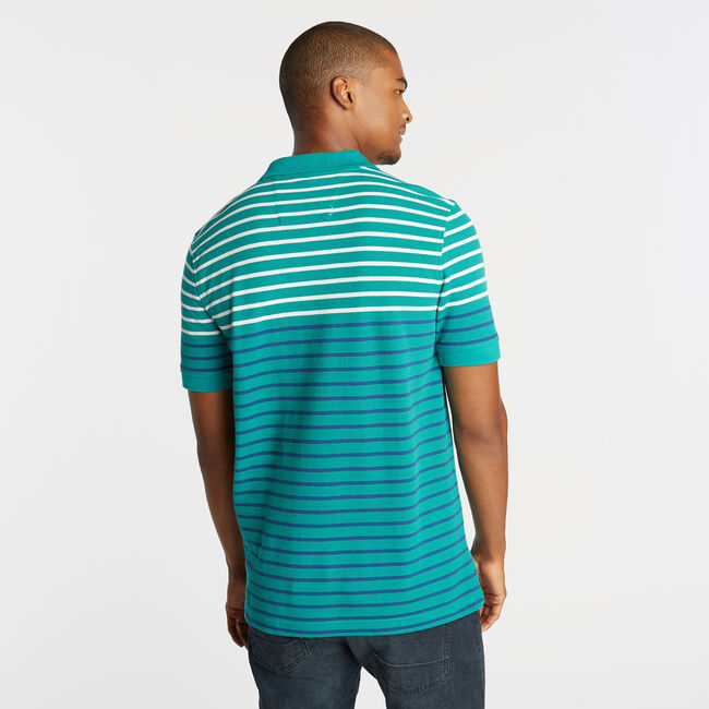 CLASSIC FIT PERFORMANCE POLO IN STRIPE,Gulf Coast Teal,large