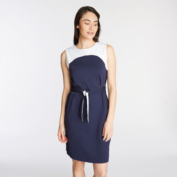 PONTE SHEATH DRESS IN COLORBLOCK - Stellar Blue Heather