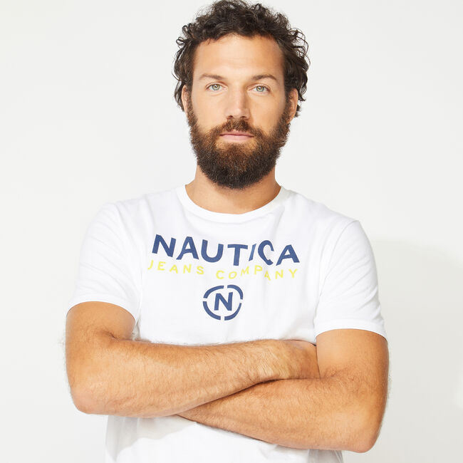 NAUTICA JEANS CO. LOGO T-SHIRT,Bright White,large