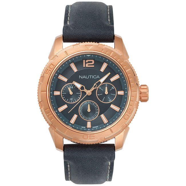 STL Leather Multifunction Watch,Multi,large