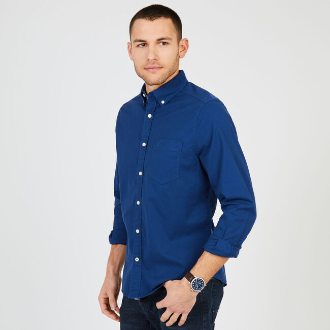 Big & Tall Stretch Oxford Classic Fit Shirt,J Navy,large