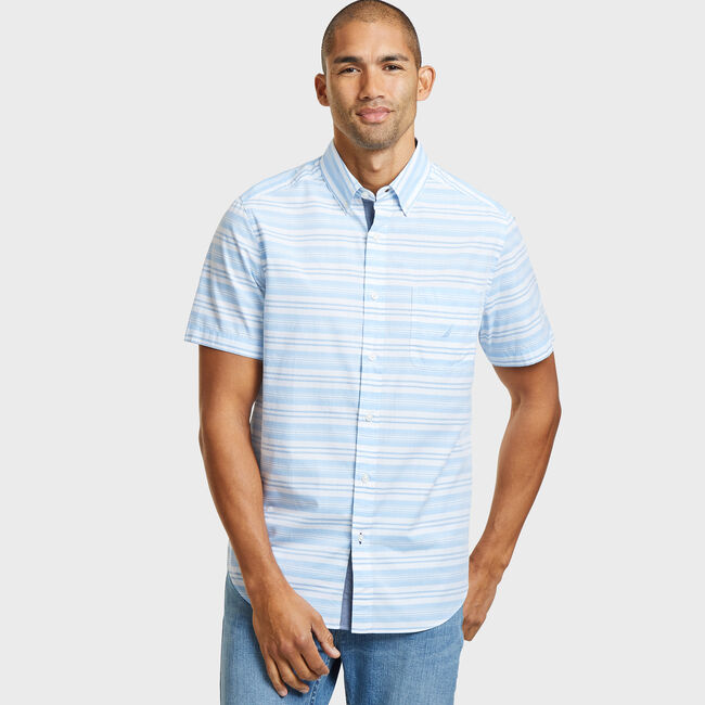 SHORT SLEEVE HORIZONTAL MIXED STRIPE POPLIN SHIRT IN CLASSIC FIT,Silver Lake Blue,large