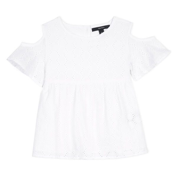 Girls' Eyelet Swing Top - White